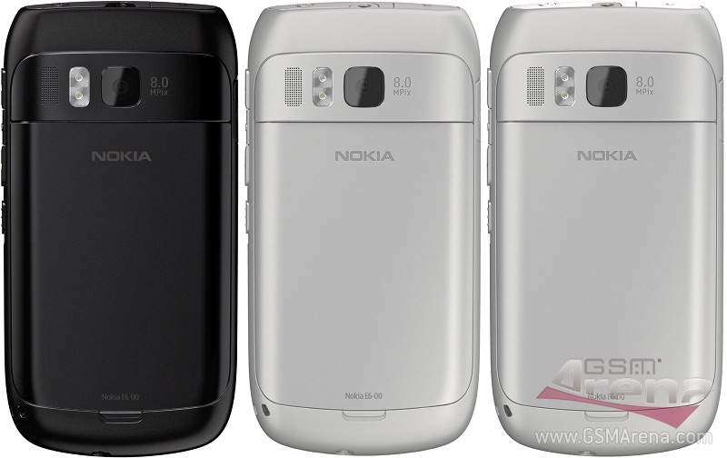 Смартфоны Nokia E6 в разных корпусах - вид на заднюю панель