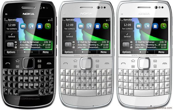 Смартфон Nokia E6-00 в разных цветовых оформлениях